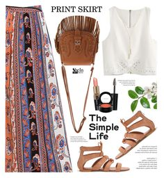 """""""Print Maxi Skirt - Shein"""" by yexyka ❤ liked on Polyvore featuring WithChic, Bobbi Brown Cosmetics, MAC Cosmetics and Bloomingdale's"""