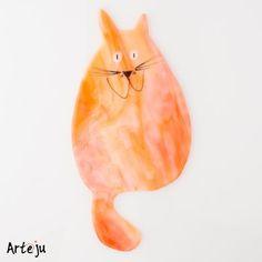 "Webshop ""Die Glasperle"" - Glaskatze in  orange-weiß opak"