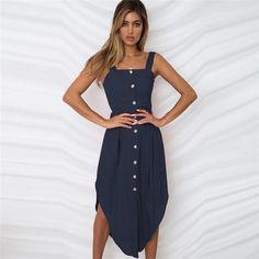 e5cc4ec7d58 Backless Solid Spaghetti Strap Mid-Calf Button Dress