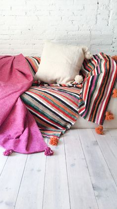 Image of Moroccan POM POM Cotton Blanket - Colored Stripes
