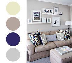 Paleta de cores para a sala: azul marinho, cinza, bege, marfim. Para outras combinações de cores, clique na imagem!