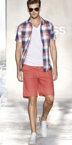 I am trying desperately to get my husband into this. Short-sleeve plaid button downs scare him slightly.