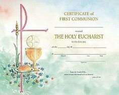First Communion Certificates Sacraments