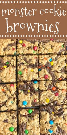 Monster Cookie Brownies | Monster cookie brownies start with a boxed brownie mix and then topped with a homemade monster cookie dough! So easy and one of our favorite desserts. #dessert #brownies #easydessertrecipes