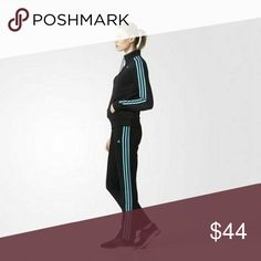 WOMEN'S ADIDAS TRACK SUIT ~~ TURQUOISE / BLACK Design as Shown Gently used Condition Zip up Jacket Drawstring Waist Band on Pants  Pics up. ASAP adidas Jackets & Coats