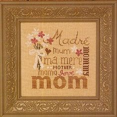 Bent Creek Love You Mom - Cross Stitch Pattern. Stitched on 32 count Summer Khaki Linen with Weeks Dye Works (Cocoa, Whitewash) and Gentle Art Sampler Threads (