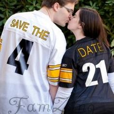 Save the Date with the couples wedding name on their Team Jerseys! Mike would love this = steelers jerseys sports save the dates, baseball save the dates #wedding #sports