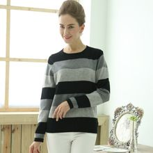 New Brand Knitted Sweater Lady Cashmere O Neck Long Sleeve Striped Christmas Sweater Women's Sweater Gift(China (Mainland))