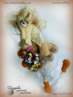 """Project by ElviraA.""""Mr and Mrs horse"""" crochet pattern designed by Astashova for LittleOwlsHut was used to make this toy. Pattern is for an experienced crocheters. Coat is KNITTed not crochet. Toy has a wire frame inside but can't stand on its own. Look at our other horse projects pins for Ideas how to decorate you lovely toy. #LittleOwlsHut, #Amigurumi, #Astashova, #CrochetPattern, #Horse, #DIY, #Pattern, #Toy"""
