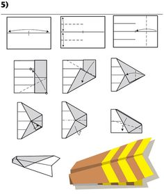12 Ways To Fold A Paper Plane. How many ways to fold a paper plane have you known? There must be many ways of how to to fold a plane that new to you, please check out below. 3d Origami, Origami Paper, Diy Paper, Paper Art, Paper Crafts, Origami Models, Paper Airplane Models, Make A Paper Airplane, Paper Planes