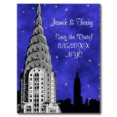 NYC Skyline Silhouette Blue Starry Save the Date 2 Post Cards 2nd Birthday Invitations, Bridal Shower Invitations, Invites, Starry Night Background, Skyline Silhouette, Wedding Postcard, Nyc Skyline, Save The Date Postcards, New York Wedding