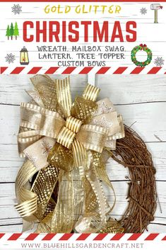 Christmas Ribbon Tying Wreath Gift Hessian Glitter Stag Holly Tartan Stars