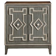 George Patterned Two Door Cabinet - Stonewall Grey - Treasure Trove, Light Gray Nep
