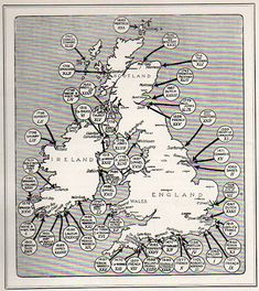 "// a map of the 54 invasions of Great Britain (and ""the places at which foreign troops have landed on British soil since 1066 (and all that), seen in the Illustrated London News for 27 March 1909)"
