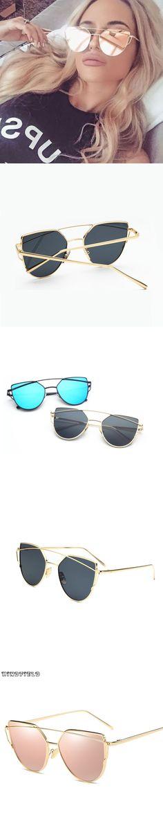 Hindfield Mirrored Cat Eye vintage sunglasses women Brand Designer lentes de sol mujer Metal Frame Sun Glasses Oculos Flat Gafas