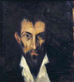 Picasso - Tête d'homme dans le style El Greco, 1899, huile sur toile, 34,7 x 31,7 cm, Museu Picasso, Barcelone, Espagne