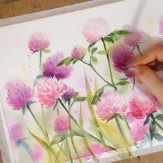 Watercolor Flowers Tutorial, Watercolor Drawing, Watercolor Cards, Watercolor Illustration, Floral Watercolor, Plant Drawing, Drawing Flowers, Flower Art, Art Drawings
