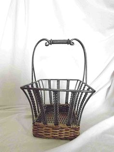 Vintage Basket Woven Wicker And Metal Open Sided Two Tone Tan Silver Black Ornate Handle Rectangular Mail Magazine Storage