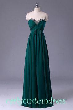 Long Green Prom Dress/Long Beaded Bridesmaid by CarlyCustomDress, $89.99