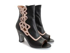 Not really my style at all, but so pretty. Fluevog Bethsaida open-toe boots, black and beige.