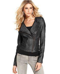 GUESS Jacket, Long-Sleeve Metallic Motorcycle - Womens Jackets & Blazers - Macy's