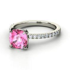 Cushion Pink Sapphire 14K White Gold Ring with Diamond & Diamond  | Cecilia Ring | Gemvara @Patti Mapes