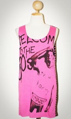 Welcom To The 80s Pink Tank Top Sleeveless Women Art Punk Rock T-Shirt Size M
