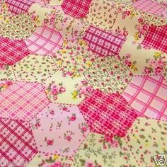"""per half metre new pink patchwork floral polycotton fabric width 44"""""""