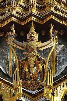 Photo of Garuda on the south hall of Chakri Maha Prasat Hall, Grand Palace, Bangkok, Thailand. Photo by Gremel Madolora Thailand Art, Bangkok Thailand, Thailand Travel, Laos, Thai Decor, Thailand Destinations, Thai Art, Southeast Asia, Asian Art