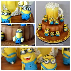 Close up detail of Minion Bar themed cake
