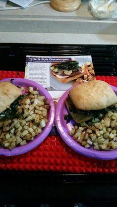 Trattoria-Style Cheeseburgers with Crispy Rosemary-Garlic Potatoes & Atoli