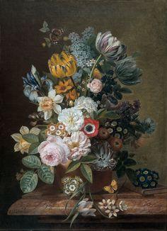 Still Life with Flowers, Eelke Jelles Eelkema, 1815 - 1839 - Rijksmuseum Wallpaper Panels, Of Wallpaper, Pattern Wallpaper, Floral Bouquets, Floral Flowers, Amsterdam Wallpaper, Flower Farm, As You Like, Home Gifts