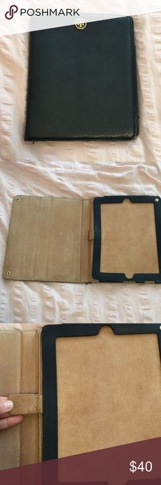 Tory Burch iPad 2 case black leather This is used and has some wear and tear. That is why the price is so low. It is in great condition other than a little chew in the bottom corner that my puppy nibbled on. I added a picture to show. Tory Burch Accessories Laptop Cases