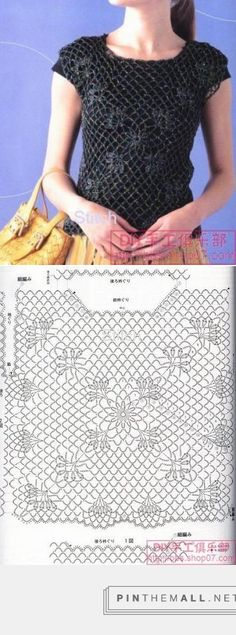 Crochet Lace Black Top crochelinhasagulhas: Blusa preta de crochê