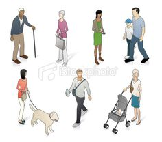 3d-style vector artwork of some every-day people you might see in your town or city.