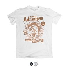 Fishing Adventure shirt design graphic available at rushordertees.com print one today! We have hundreds of pre-made design templates for any special occasion. #fishing #dad #adventures #tshirtprinting #customapparel Image Font, Fishing Adventure, Fishing Shirts, Design Templates, Custom Clothes, Printed Shirts, Special Occasion, Shirt Designs, Tees