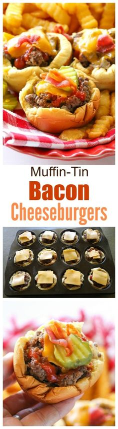 Muffin-Tin Bacon Cheeseburgers - no drive through needed to eat these delicious handheld burgers. the-girl-who-ate-...
