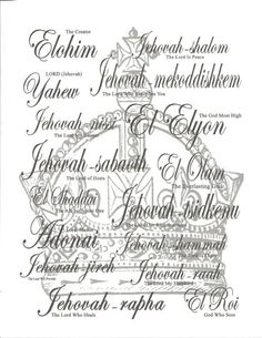 The different names of God - I pray these names during my quiet times.