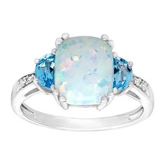 2 38 ct Natural Opal  Swiss Blue Topaz Ring with Diamonds in Sterling Silver Size 7 ** For more information, visit image link.Note:It is affiliate link to Amazon.