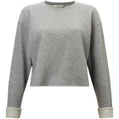 Miss Selfridge Cropped Sweatshirt, Grey ($26) ❤ liked on Polyvore featuring tops, hoodies, sweatshirts, polyester sweatshirt, cropped tops, polyester crop tops, long sleeve tops and grey sweatshirt