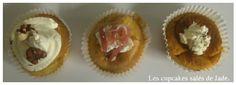 De gauche à droite :  Cupcake roquefort lardons. Cupcake jambon chèvre. Cupcake tomate moutarde.