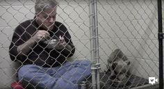 Vet eats breakfast with rescue dog in her cage to rebuild her trust in humans