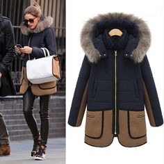 Women Warm Winter Long Coat Fur Hooded Parka Thicken Overcoat Jacket Outwear