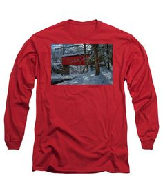 Covered Bridge Long Sleeve T-Shirt featuring the photograph Vermont Covered Bridge Winter Afternoon by Jeff Folger