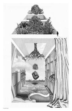 Allegories of Home by Zabie Mustafa Poetry Art, Art Photography, Surreal Art, Line Art Drawings, Oil Painting Landscape, New Media Art, Art Inspiration Drawing, Architecture Illustration, Italian Artist