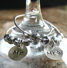 Wedding Silver Wine Charms Hand Stamped and Personalized - Mr. and Mrs. First Toast Charms