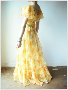 Vintage 60's yellow CITRUS SUNSHINE Floral Ruffle Chiffon Flowy Long Party Gown Maxi Dress - viral threads etsy - camille styles events