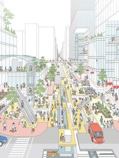 Green Architecture, Concept Architecture, Pixel City, Urban Mapping, City Collage, Urban Design Diagram, Pastel Colour Palette, Presentation Design, Designs To Draw