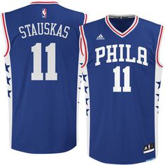 9dda169e6 Men s Philadelphia 76ers Nik Stauskas adidas Royal Replica Jersey Nba  Uniforms
