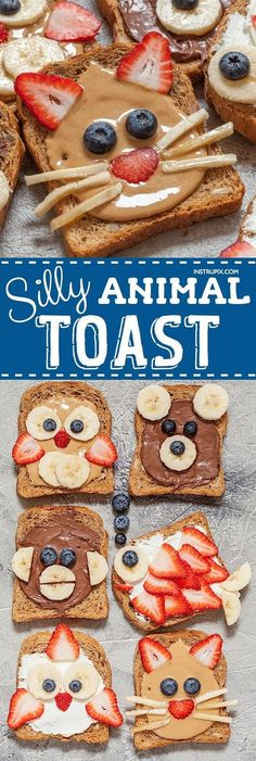 These easy breakfast and snack ideas for kids are super quick and healthy! Fun toast ideas that only require a handful of ingredients (bread, nut butters and fruit). Make them into silly animals or anything you can imagine. (quick and easy snacks) Healthy Breakfast For Kids, Healthy Snacks For Kids, Eat Healthy, Snacks Kids, Fun Food For Kids, Snack Ideas For Kids, Breakfast Time, Kids Food Crafts, Easy Kid Breakfast Ideas